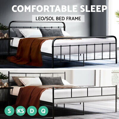 AU154 • Buy Artiss Metal Bed Frame QUEEN KING DOUBLE SINGLE Size Mattress Base Bedroom Bed