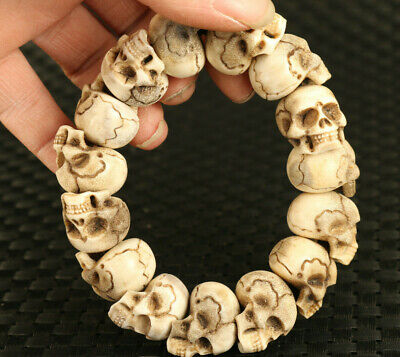 £160 • Buy Rare Old Chinese Antler Hand Carved Skull Statue Cool Bracelet Collectable Gift