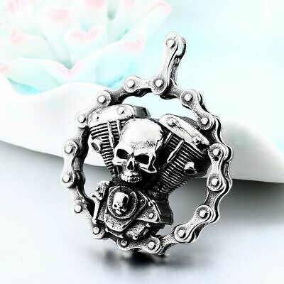 Mens Skull Motorcycle Biker Engine Pendant Necklace 316L Stainless Steel Jewelry • 7.78£