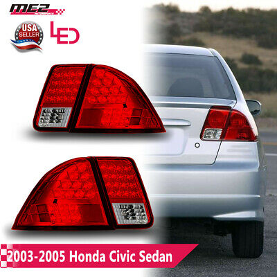 $98.20 • Buy Fits  01-03 Honda Civic 4Dr Sedan Replacement PAIR LED Tail Lights Chrome/Red