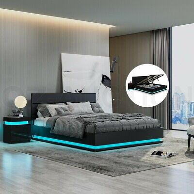 AU399.95 • Buy New Bed Frame King PU Leather Gas Lift Storage Furniture With LED Light Black