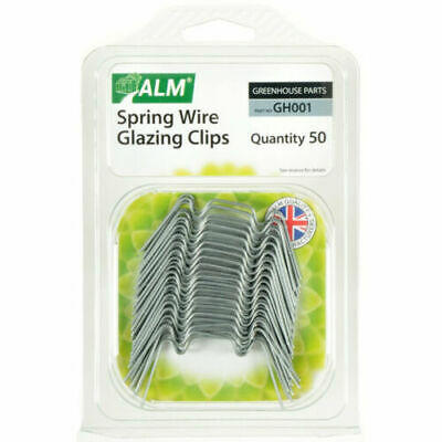 Greenhouse Glass W Clips Glazing Spare Parts 50 Pack ALM Spring Wire Accessories • 6.39£