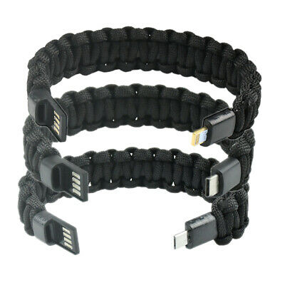$2.99 • Buy USB 2.0 Charging Cable Survival Bracelet Data Charger Cord For Apple Android C30