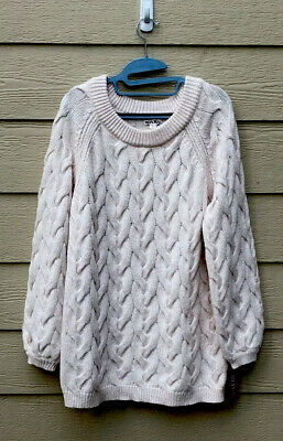 $16 • Buy Merona Light Pink Chunky Cable Knit Sweater Size Medium