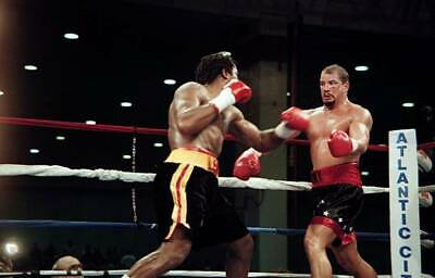 LARGE OLD BOXING PHOTO Lennox Lewis Throws A Punch V Tommy Morrison 2 • 4.69£