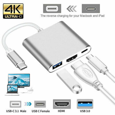 AU15.01 • Buy USB 3.1 Type-C To 4k HD HDMI HUB USB-C 3IN1 Charging Port Adapter Cable/Cord YD