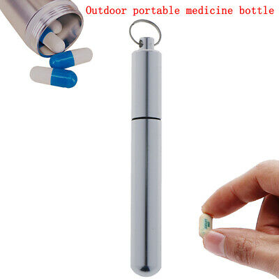 $1.20 • Buy Keychain Waterproof Aluminum Medicine Drug Pill Box Bottle Holder Container I2