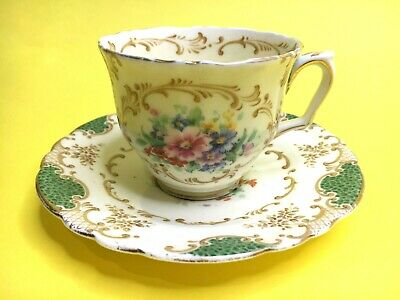 Antique Crown Staffordshire Cup & Saucer DUO Pattern F14753 Green & Floral • 17.50£