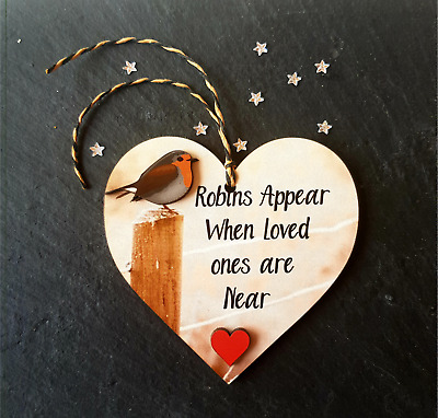 £3.99 • Buy Personalised Robins Appear When Loved Ones Are Near Memorial Hanging Heart Sign