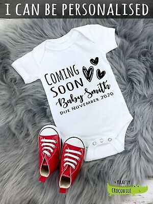 Personalised Coming Soon Announcement Baby Grow Vest Bodysuit Baby Shower Gift  • 5.99£