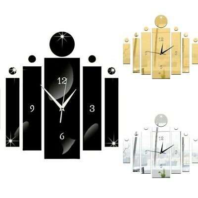3D Large Number Mirror Art Clock Wall Sticker Big Watch Home Room DIY Decor • 7.23£