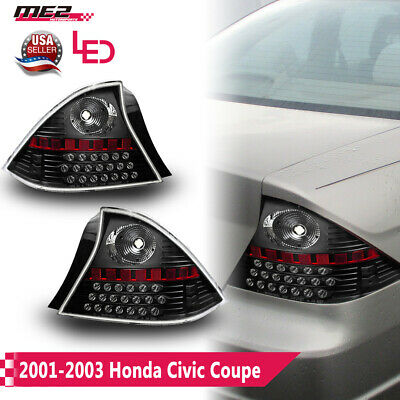 $103.89 • Buy Fits 01-03 Honda Civic Coupe LED Tail Brake Lights Black Housing Clear Lens