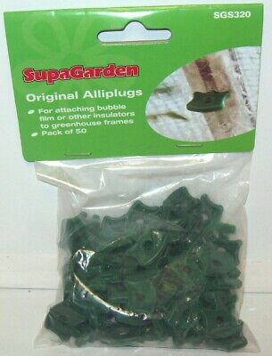 Alliplugs Greenhouse Insulation Clips Original Plastic Pack Of 50 Green Clips • 3.59£