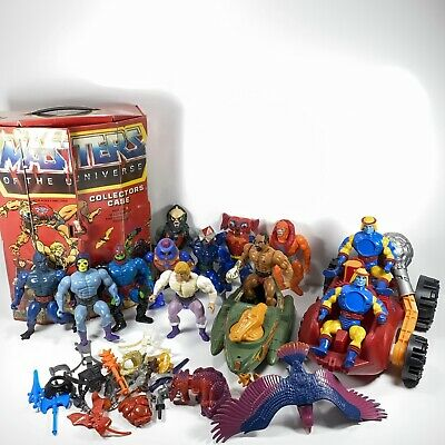 $174.95 • Buy HUGE MOTU Lot Of He-man Action Figures W/ Case, Weapons & Vehicles