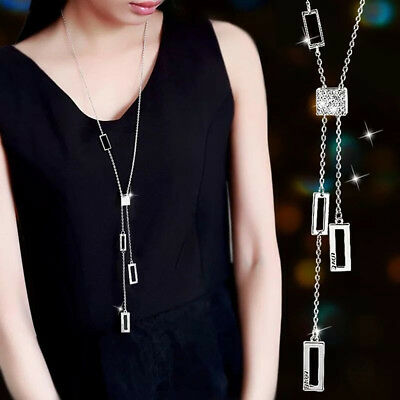 AU8.78 • Buy Pendant Necklace For Women Crystal Sweater Chain Jewelry Fashion Necklaces BM
