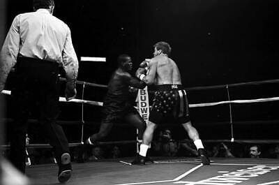 LARGE OLD BOXING PHOTO Marshall Tillman Throws A Punch V Tommy Morrison 1 • 4.69£