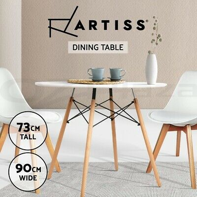 AU129.90 • Buy Artiss Dining Table Round 4 Seater Replica Eames Tables Cafe Timber White 90cm