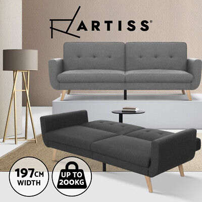 AU389.95 • Buy Artiss Sofa Bed Lounge Futon Couch 3 Seater Day Beds Fabric Scandi Wood 197cm