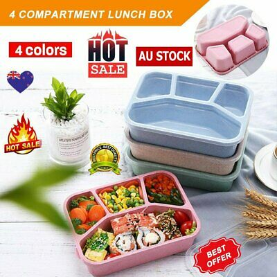 AU11.99 • Buy 4 Divided Portable Bento Lunch Box Four Grid Fast Food For Microwave Fresh KC
