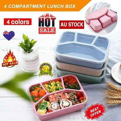 AU11.80 • Buy 4 Divided Portable Bento Lunch Box Four Grid Fast Food For Microwave Fresh KC