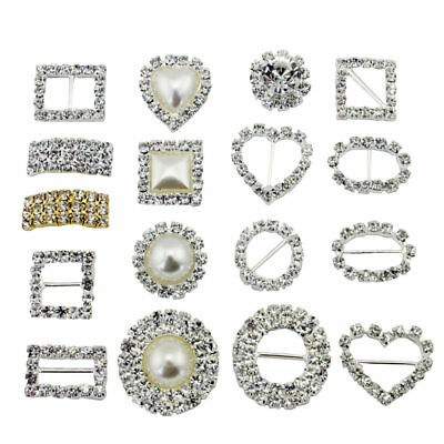 100x CIRCLE, HEART, OR SQUARE DIAMANTE RHINESTONE CRYSTAL BUCKLE RIBBON SLIDERS • 17.65£
