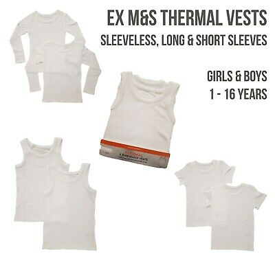 EX M+S Boys Girls THERMAL Vests Short Long Sleeve Sleeveless Underwear Cotton • 5.99£
