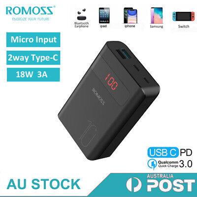 AU28.99 • Buy ROMOSS Type-C Power Bank 10000mAh 18W Fast Charge PD QC 3USB Portable For Phone