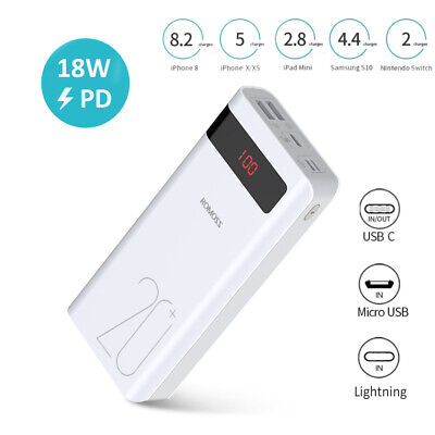 AU36.99 • Buy ROMOSS 30000mAh External Power Bank Dual USB 2.1A Quick Charge Portable Battery
