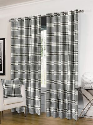 Tartan Grey Beige Check Plaid Woven Lined Ring Top Curtains *4 Sizes* • 58.99£