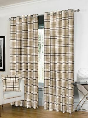 Tartan Cream Brown Check Plaid Woven Lined Ring Top Curtains *4 Sizes* • 58.99£