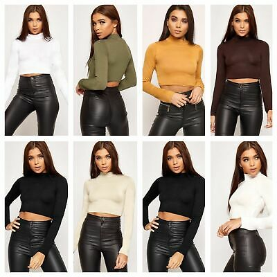 £4.49 • Buy New Womens Ladies Turtle Neck Crop Long Sleeve Plain Polo Short Stretch Top 8-14