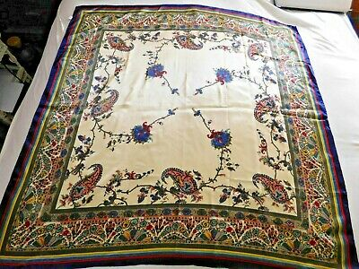 $9.99 • Buy Vintage Multi Colored Beautiful Large 100% Silk Scarf 42  By 42