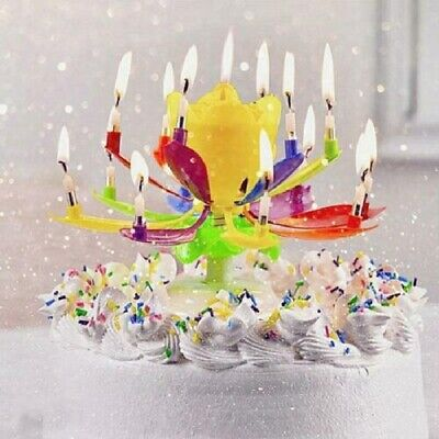 $ CDN3.93 • Buy Magic Upgrade Multicolor Rotating Double Lotus Cake Candle Cake Birthday Candles
