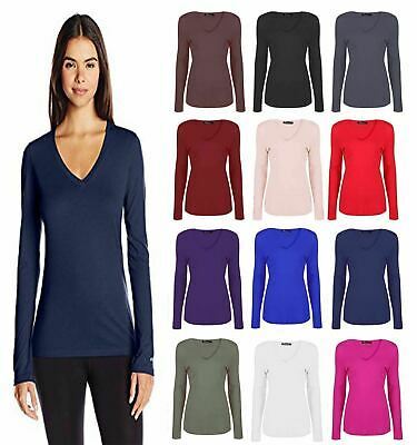 New Womens Plain Long Sleeve Casual Jersey Stretchy V Neck Basic T-Shirt Tee Top • 5.99£