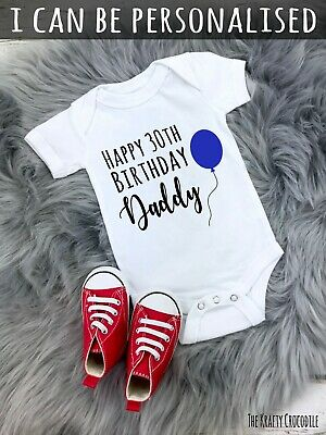 £5.99 • Buy Personalised Happy Birthday Daddy Baby Grow Bodysuit Baby Vest Surprise Party