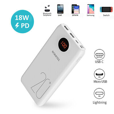 AU32.99 • Buy ROMOSS 20000mAh 18W PD QC3.0 Power Bank 3 Output USB Portable Fast Phone Charger