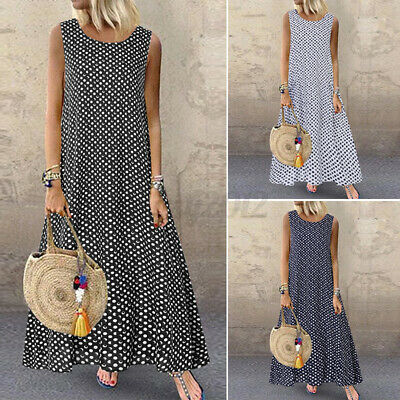 UK Women's Summer Polka Dot Sleeveless Casual Loose Long Vest Dress Plus Size • 10.79£