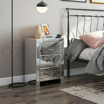 AU199.95 • Buy Mirrored Bedside Tables 3 Drawer Nightstand Side Table Cabinet Bedroom Furniture