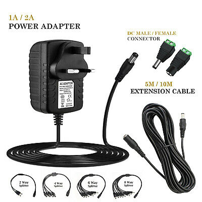 12V 1A 2A AC/DC UK Power Supply Adapter Safety Charger For LED Strip CCTV Camera • 6£
