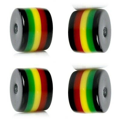 $7.51 • Buy 100 RASTA Beads Green Red Black Yellow Striped Barrel Tube Shape Resin Bubblegum