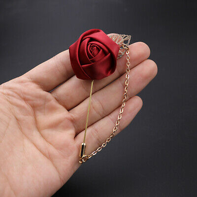 Wedding Red Flower Gold Leaf Corsage Lapel Pin Brooch Chain Suits Collars Stick • 2.37£