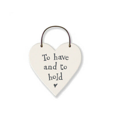 To Have & To Hold Mini Wooden Hanging Heart - Wedding Cracker Filler Gift • 1.43£