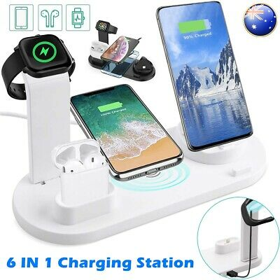 AU24.99 • Buy For IPhone X XS 11 Pro Max Qi Wireless Charger Charging Station Dock Stand 6in1