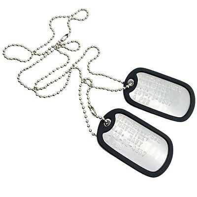 £4.99 • Buy Top Gun Pete Mitchell Maverick Stainless Steel Army Dog Tags Set - Thedogtagco