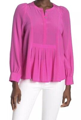 $9.99 • Buy J.Crew Pleated Silk Popover Top Shirt Bright Pink Dress Sz XL NWT Banana Button