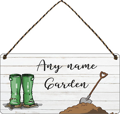 Personalised Garden Sign Shed Plaque Summer House Sign Gift Allotment Wellies • 7.49£