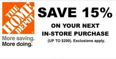 $25.99 • Buy ONE 1X 15% OFF Home Depot Coupon - In Store ONLY Save Up To $200 - Fast Shipment