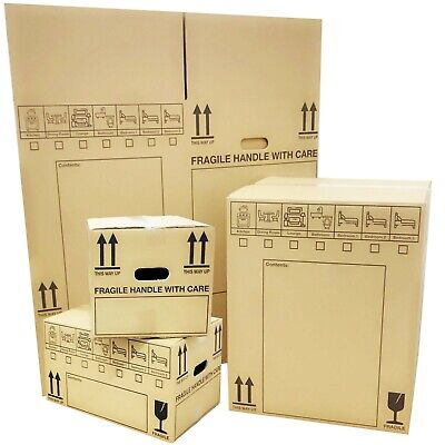 NEW X LARGE DOUBLE WALL Cardboard House Moving Boxes -Removal Packing Box BUNDLE • 16.42£