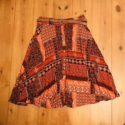 Ethnic Boho Patterned Red Skirt By TU Size 10 In Excellent Condition Beach  • 3.79£