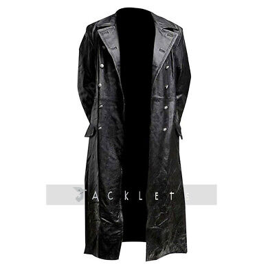 Mens German Classic WW2 Military Officer Uniform Black Real Leather Trench Coat • 114.99£